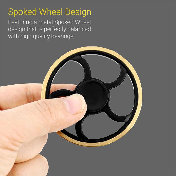 Olixar Spoked Wheel Fidget Spinner - Black / Gold
