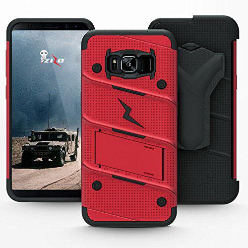 Zizo Bolt Series Samsung Galaxy S8 Plus Tough Case & Belt Clip - Red