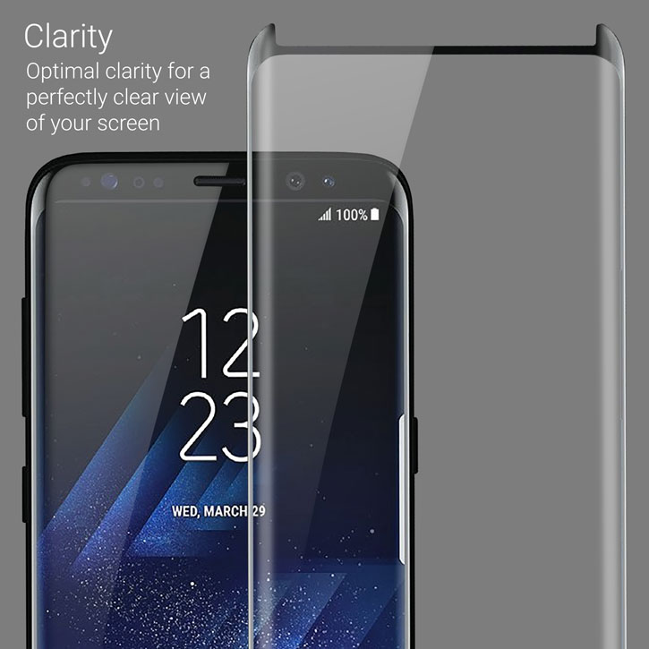 Olixar Galaxy S8 Plus Case Friendly Glass Screen Protector - Black