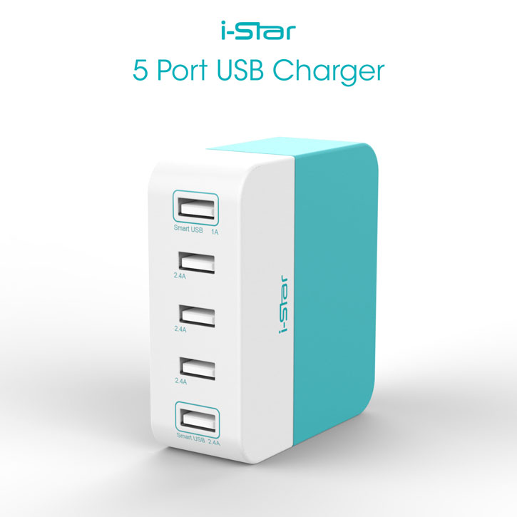 Chargeur HUB I-Star Bookend 10.6A 5 Ports