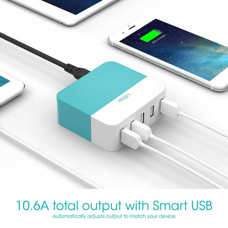 I-Star 10.6A 5 Port USB Bookend Charger