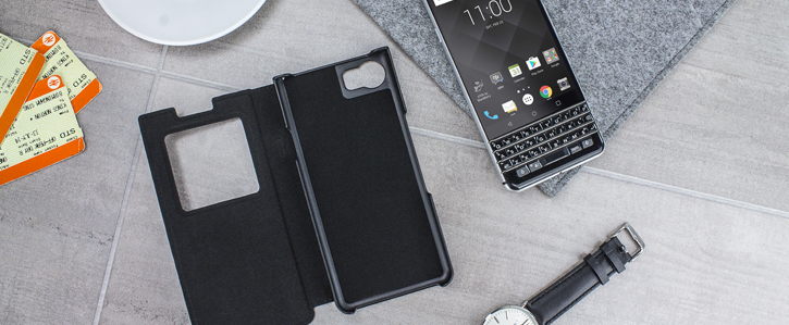 Official BlackBerry KEYone Smart Flip Case - Black
