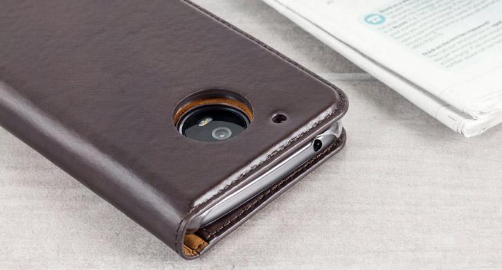 Olixar Genuine Leather Motorola Moto G5 Executive Wallet Case - Brown