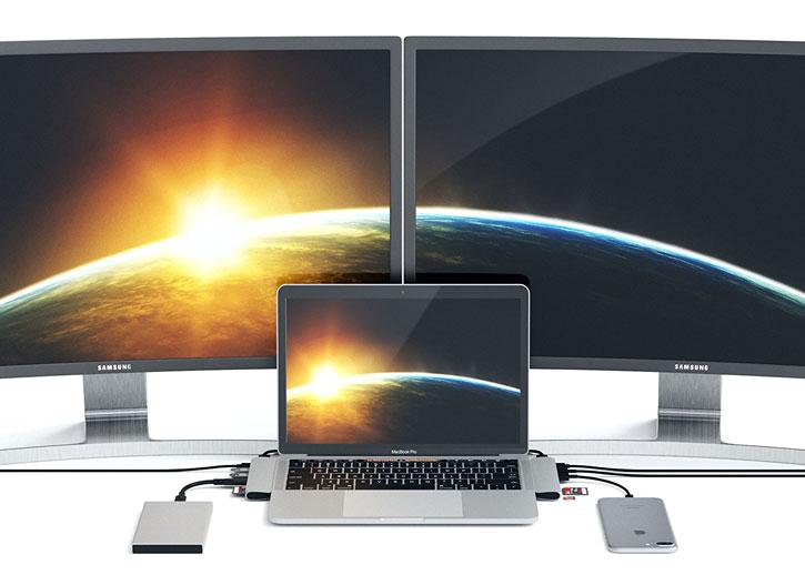 Ampliador de puertos Satechi USB-C 4K HDMI y adaptador USB - Plata