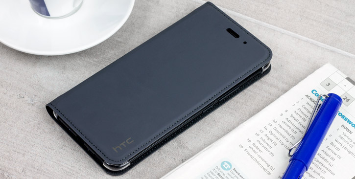 Official HTC U11 Genuine Leather Flip Case - Dark Grey