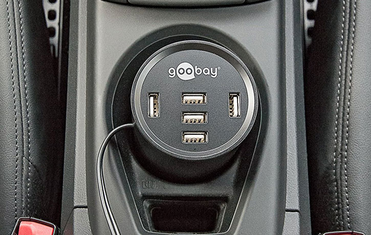Goobay Power Cup 5x USB 10A Cup Holder Car Charger - Black