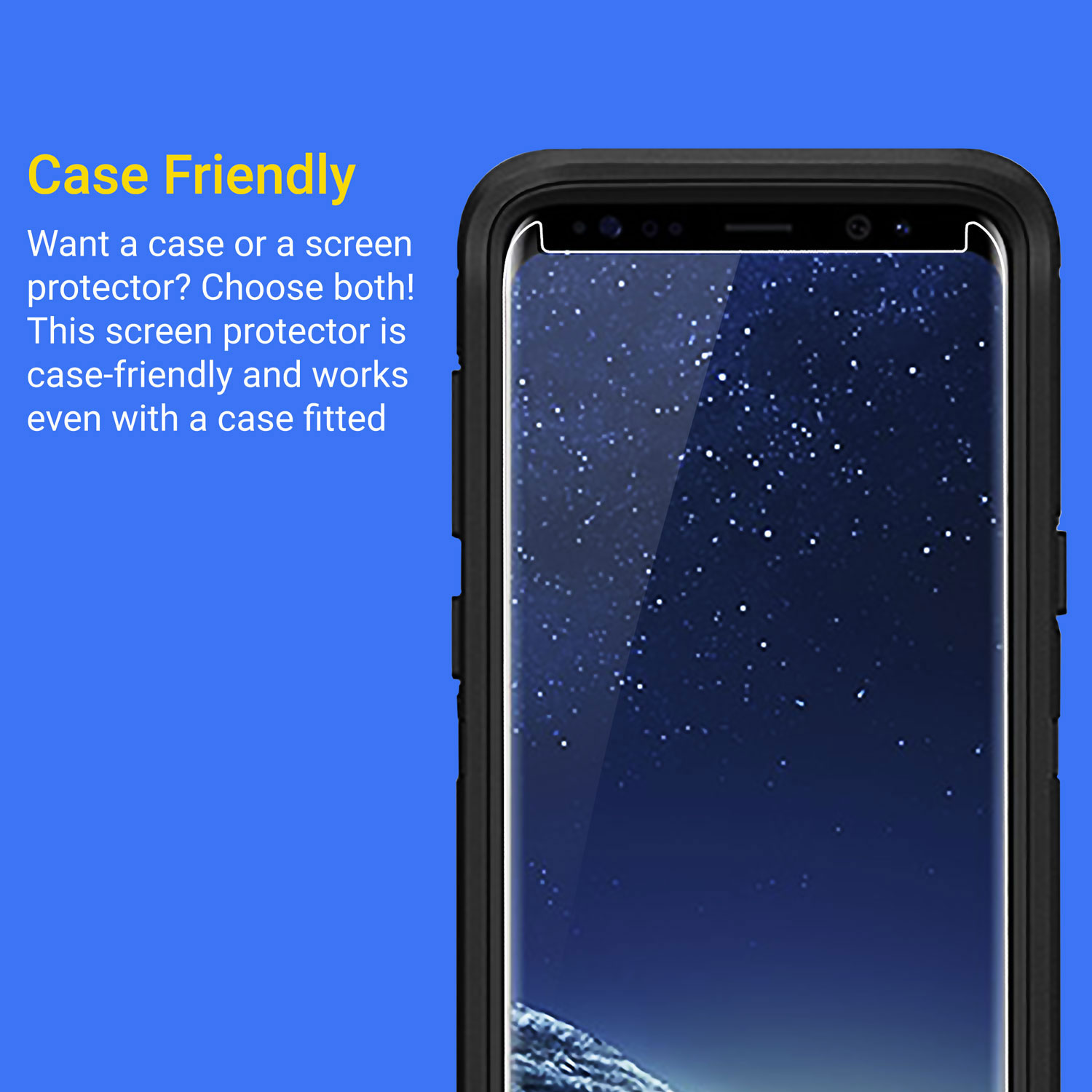 Kahu Samsung Galaxy S8 Case Friendly Glass Skärmskydd - Klar