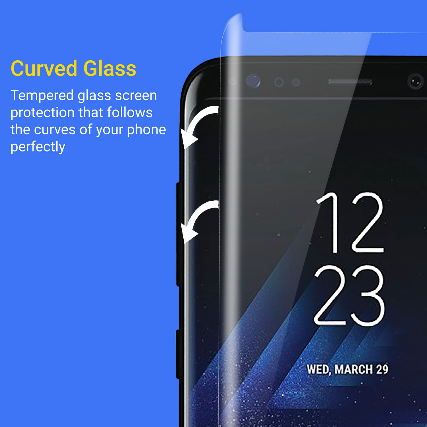 Kahu Samsung Galaxy S8 Case Friendly Glass Screen Protector - Clear
