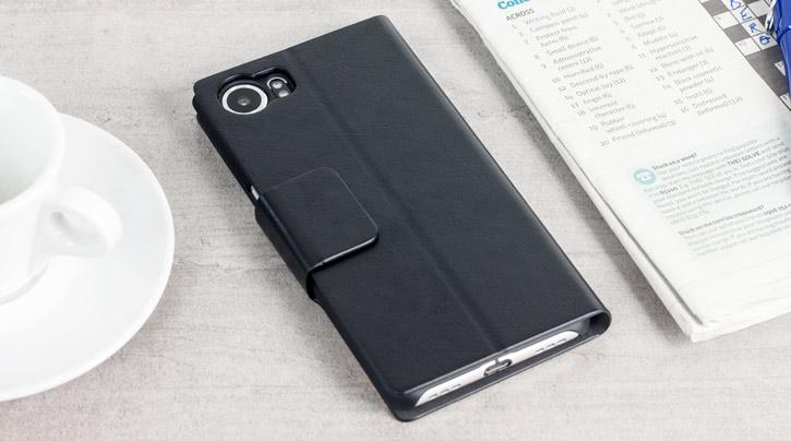 Olixar Leather-Style Blackberry KeyONE Wallet Stand Case - Black