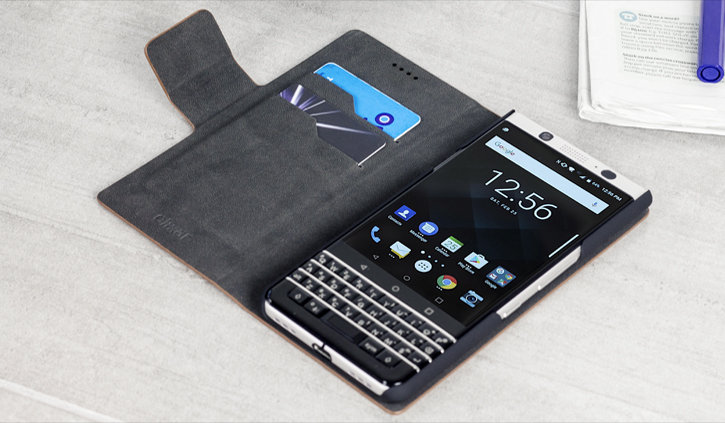 Olixar Leather-Style Blackberry KeyONE Wallet Stand Case - Brown