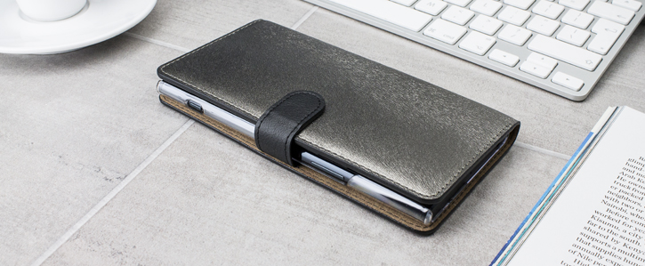 Hansmare Calf Sony XZ Premium Wallet Case - Golden Black