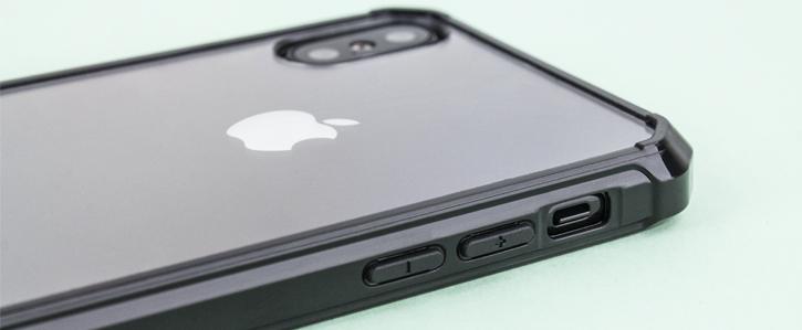 Coque iPhone X Olixar ExoShield Snap-on – Noir / Transparent vue sur touches