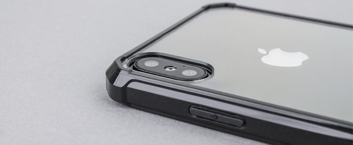 Coque iPhone X Olixar ExoShield Snap-on – Noir / Transparent vue sur appareil photo
