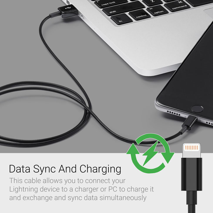 Apple Certified MFi Charge & Sync Lightning USB Charge Cable - Black