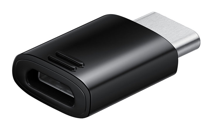 Official Samsung Galaxy S9 Plus Mikro USB bis USB-C Adapter - Schwarz