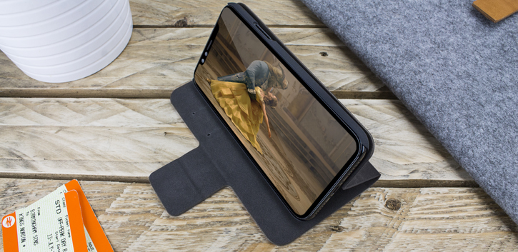 Olixar Leather-Style Moto G5 Plus Wallet Stand Case - Black