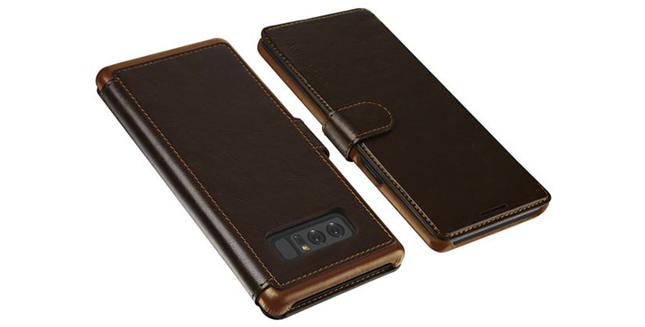 VRS Design Dandy Leather-Style Galaxy Note 8 Wallet Case - Brown