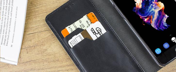 Olixar Genuine Leather OnePlus 5 Executive Wallet Case - Black