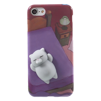 3D Squeeze iPhone 7 Squishy Cat Case - Purple