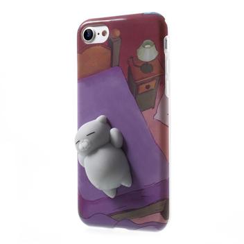 3D Squeeze iPhone 7 Squishy Cat Case - Purple