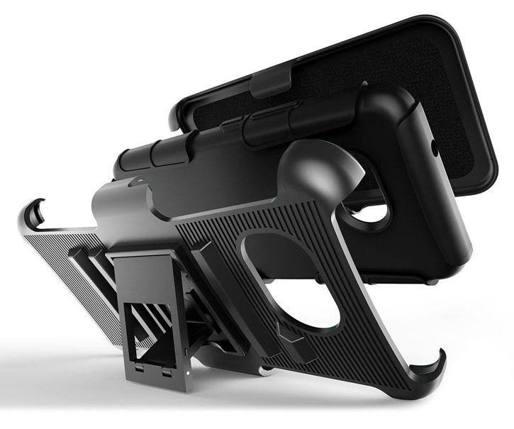 Olixar Rugged HTC U11 Kickstand Case w/ Belt Clip - Black