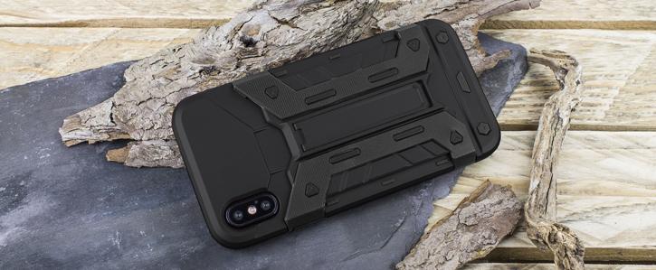 Olixar X-Trex iPhone X Rugged Card Kickstand Case - Black