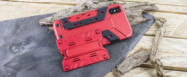 Olixar X-Trex iPhone 8 Rugged Card Kickstand Case - Red