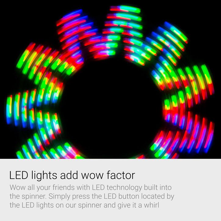 Olixar LED Pattern Tri Spinner Fidget Spinner - Black