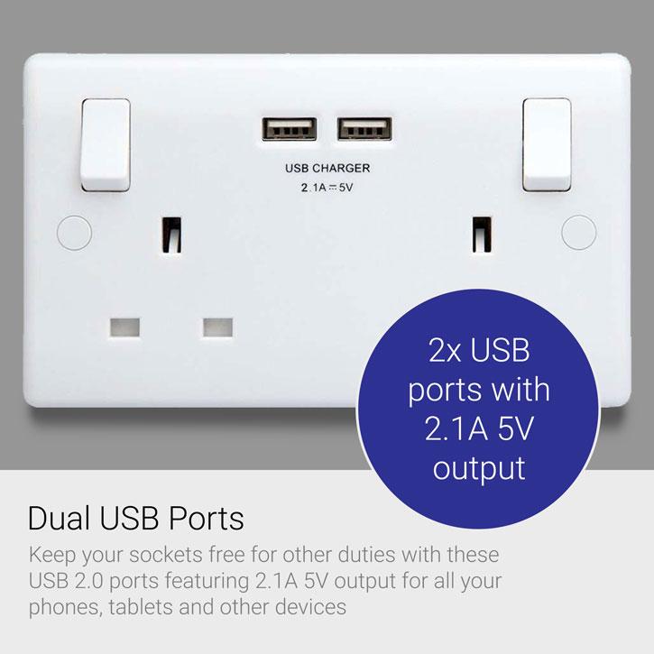 2 Port Usb Double Uk Plug Socket With Phone Shelf Twin Pack