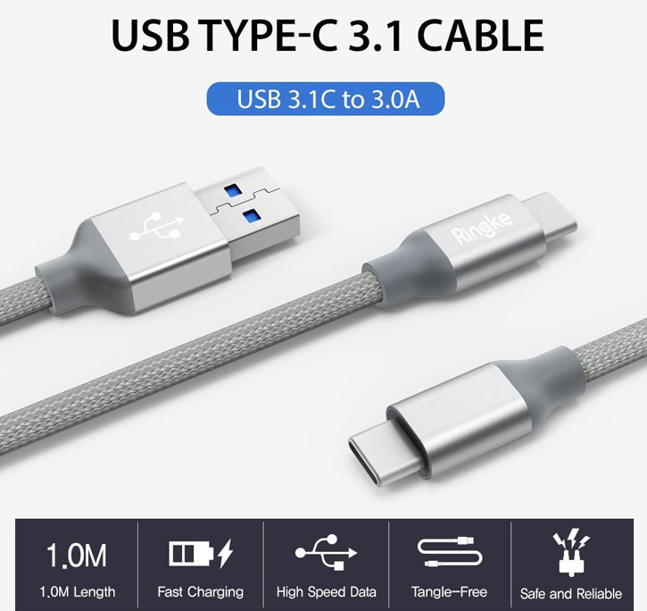 Rearth Ringke Braided USB-C Charge and Sync Cable - 1m