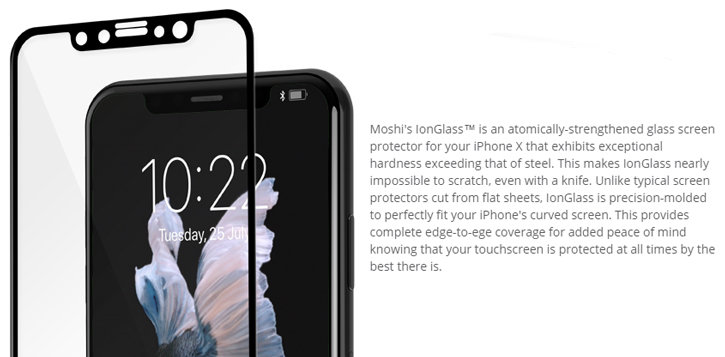 Moshi IonGlass iPhone X Tempered Glass Screen Protector - Black