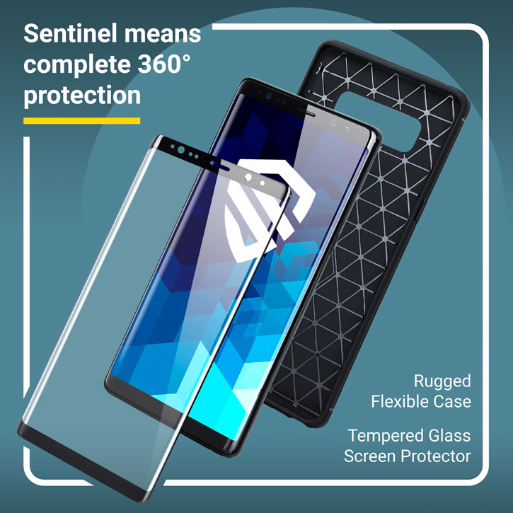 Olixar Sentinel Samsung Galaxy Note 8 Case and Glass Screen Protector