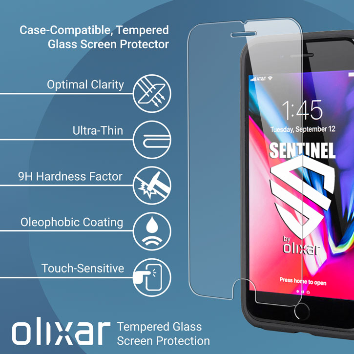 Olixar Sentinel iPhone 8 Case and Glass Screen Protector