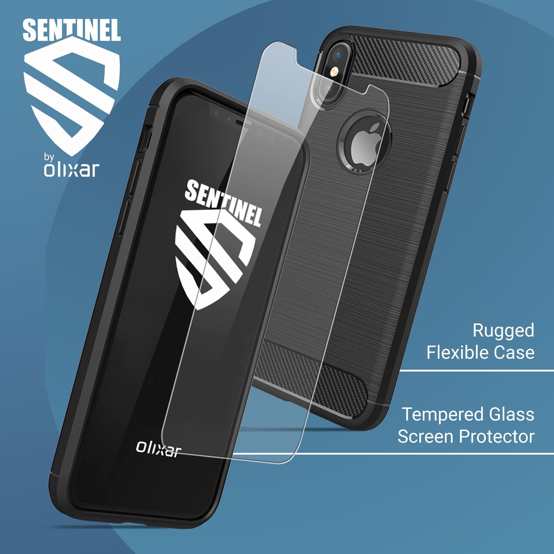Olixar Sentinel iPhone X Hülle und Glas Displayschutz