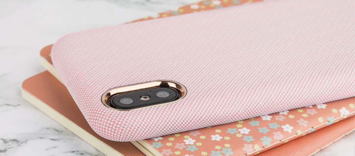 Coque iPhone X LoveCases Pretty in Pastel Jean - Rose vue sur appareil photo