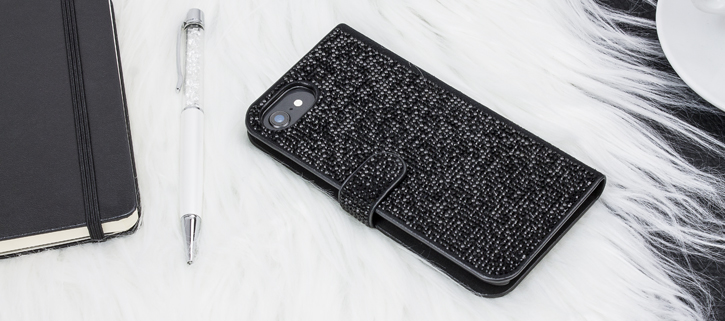 LoveCases Luxury Diamond iPhone 8 / 7 / 6S / 6 Wallet Case - Black