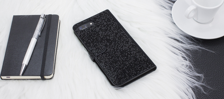 LoveCases Luxury Diamond iPhone 8 Plus / 7 Plus Wallet Case - Black