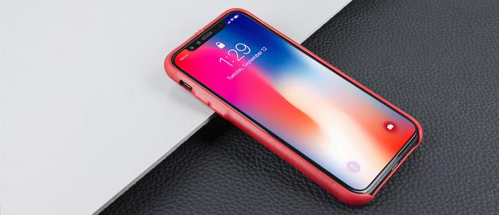 Olixar Premium Genuine Leather iPhone X Case - Red