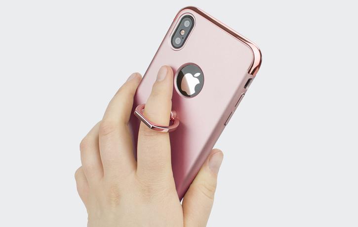 Coque iPhone X Olixar X-Ring – Or Rose vue sur appareil photo