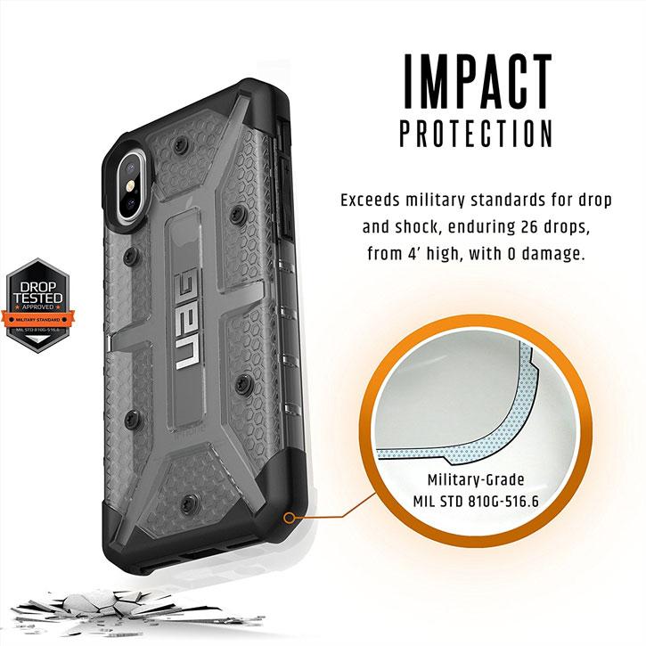 Coque iPhone X UAG Plasma Protective – Cendre vue sur appareil photo