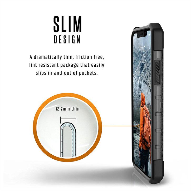 Coque iPhone X UAG Plasma Protective – Cendre vue sur touches