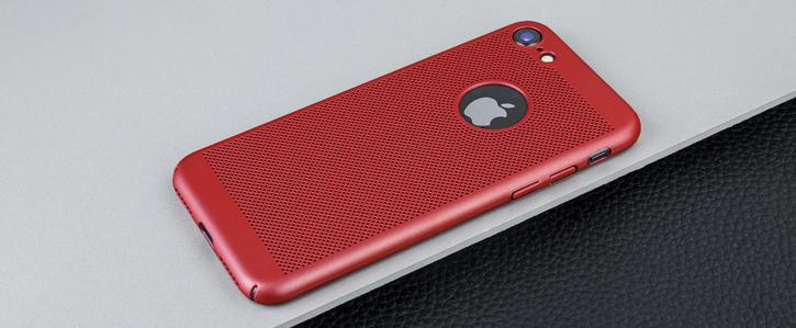 Coque iPhone 8 / 7 Olixar MeshTex – Rouge cuivré vue sur touches