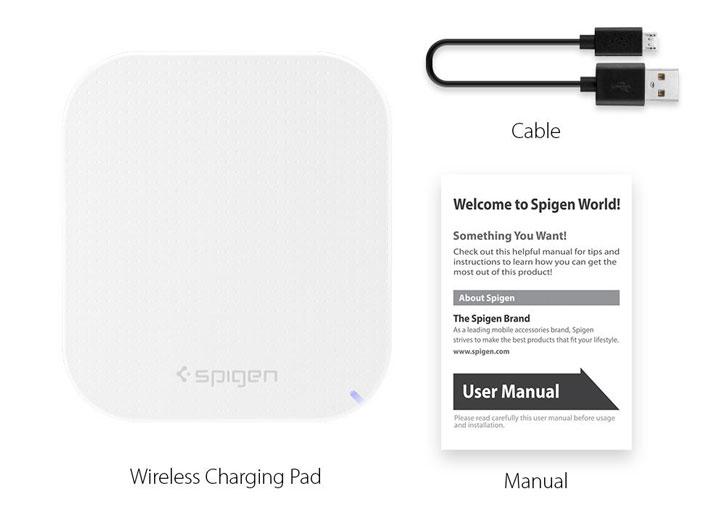 Chargeur sans fil Universel Spigen Essential F302W - Blanc
