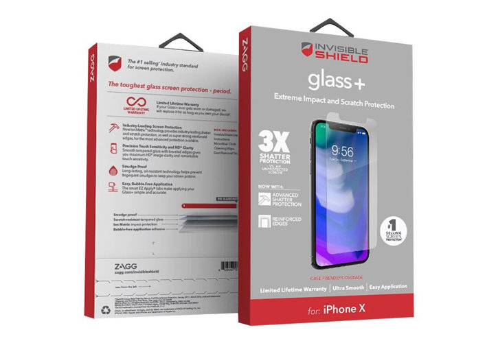 InvisibleShield iPhone X Case Friendly Tempered Glass Screen Protector