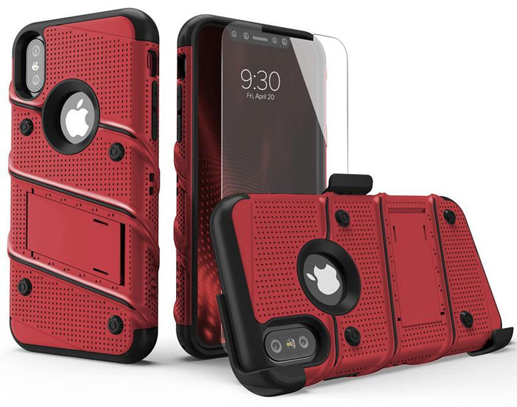 Zizo Bolt Series iPhone X Tough Case & Belt Clip - Red / Black