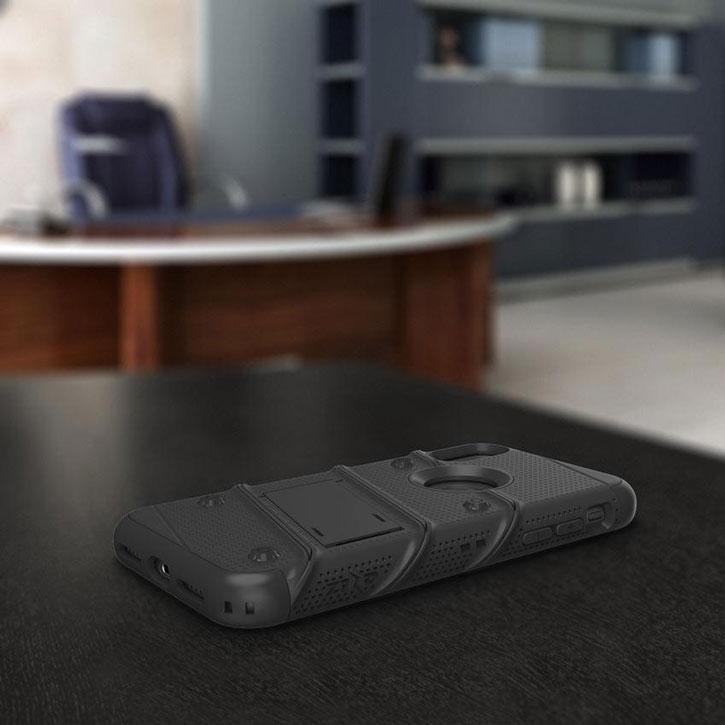Coque iPhone X Zizo Bolt robuste avec clip ceinture – Noire