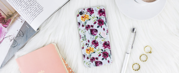 Coque iPhone 8 / 7 LoveCases Floral Art – Bleue vue sur appareil photo