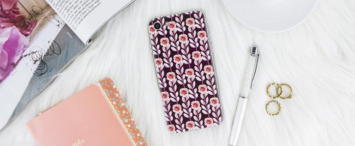 Coque iPhone 8 / 7 LoveCases Floral Art – Maroon vue sur appareil photo
