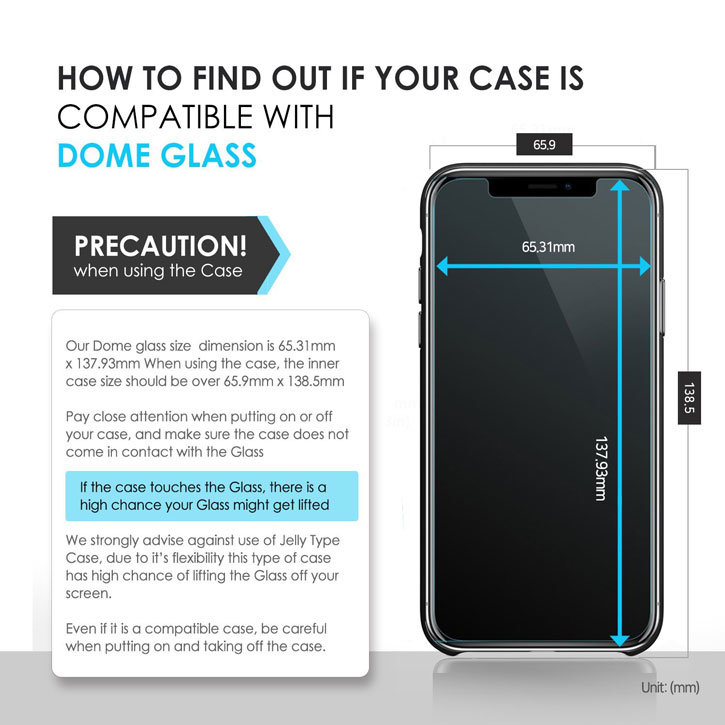 Protection d'écran iPhone X Whitestone Dome Glass Full Cover