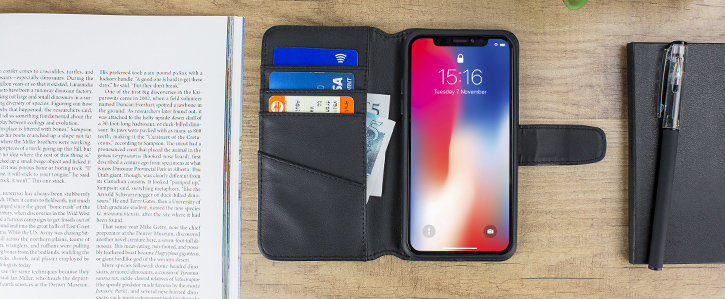 iPhone X Genuine Leather Wallet Case - Black